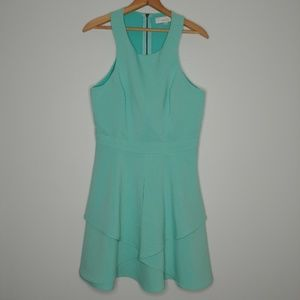 Adelyn Rae Fit n Flare Dress Ruffle Turquoise